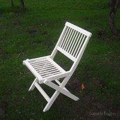 Стул складной деревянный белый Meranti